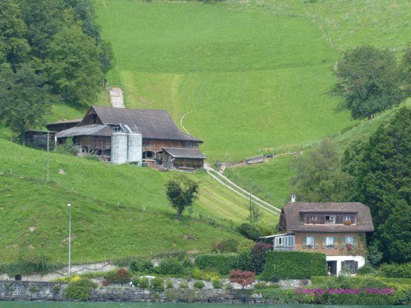 Swiss farm house and lake house on Lake Lucerne