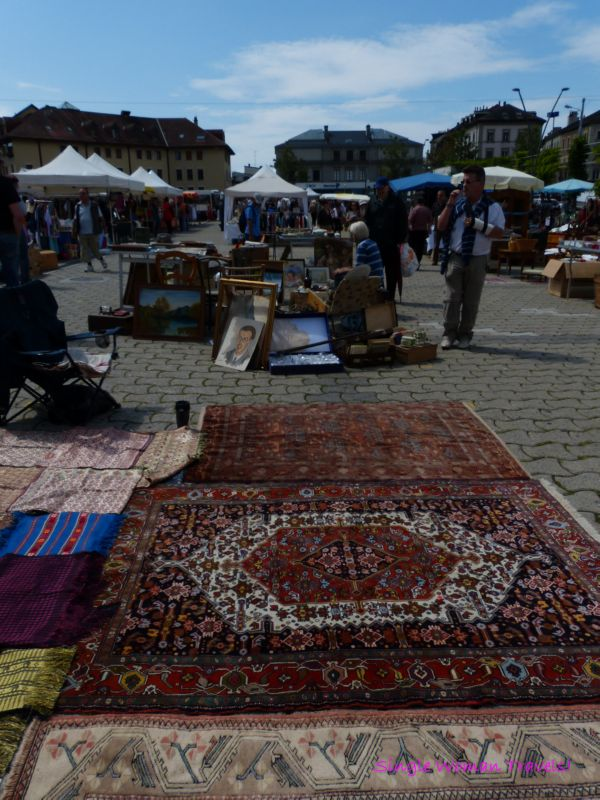 Wide selection of goods at the flea market Lausanne Switzerland
