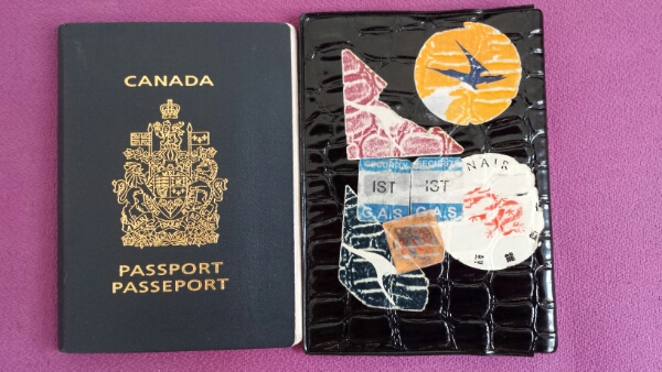 Canadian passport with airline stickers from the past
