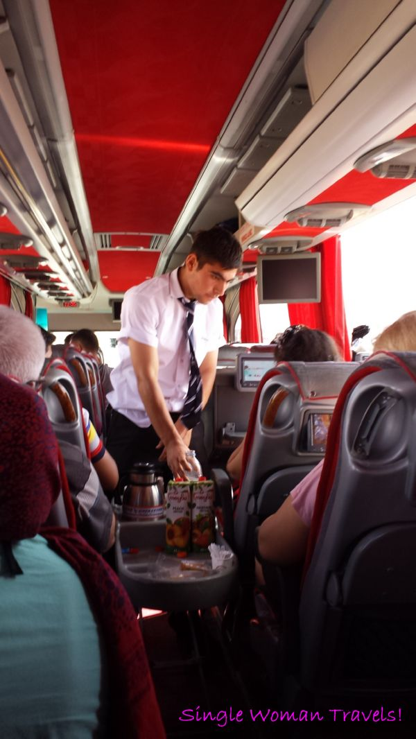 Free beverage service on long distance bus travel in Turkey