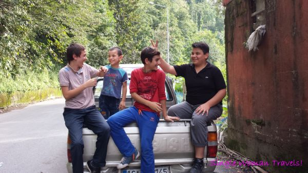 Turkish children in Rize Turkey having fun