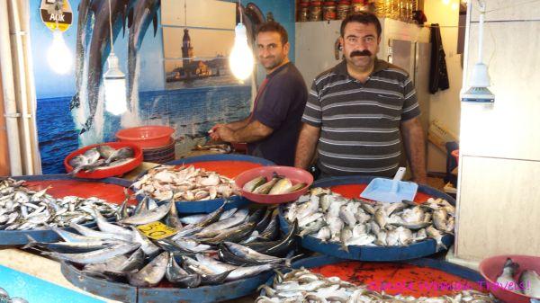 Turkish fish mongers in Rize Turkey