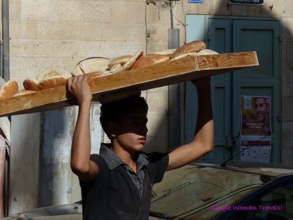 Life goes on - Delivering fresh bread in Bethlehem Palestine