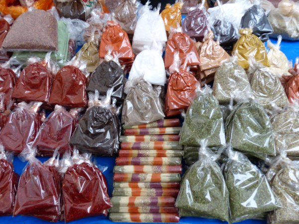 Bags of Spices at Fatih market Istanbul Turkey