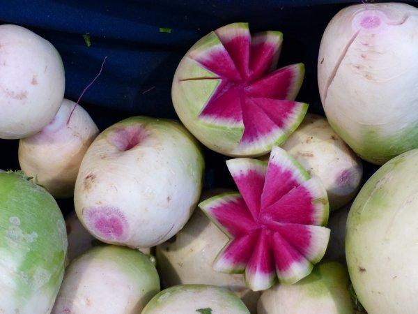 delicious watermelon radish found at Fatih market Istanbul Turkey