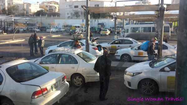 Designated white taxis from Amman Jordan to King Hussein Bridge border crossing to Israel