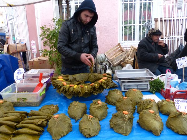 Grape leaves for sale at Fatih market Istanbul Turkey