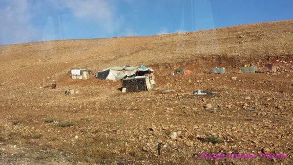 Refugee tent along Jordanian highway