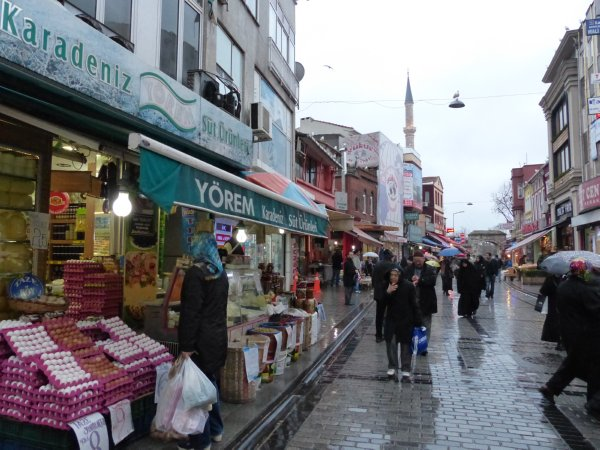 Streets leading to the Wednesday Fatih market are quiet in the rain Istanbul Turkey