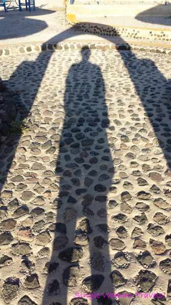 Wordless Wednesday Farewell 2014 - shadow photography at sunset in Santorini Greece