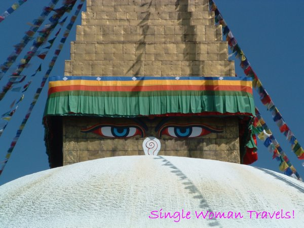 All seeing eyes of Buddha at Boudhanath stupa Kathmandu Nepal