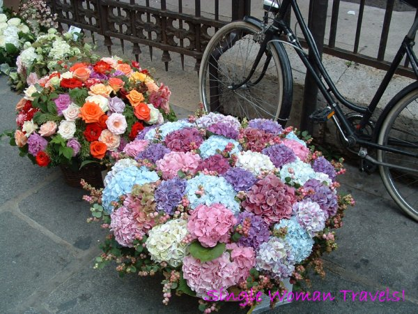 Baskets of flowers outside a church in Paris Sept 2005