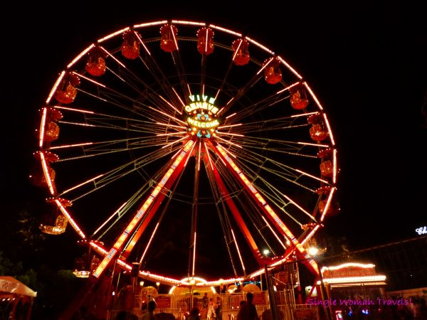 Fêtes de Genève Ferris wheel lite up at night in Geneva, Switzerland