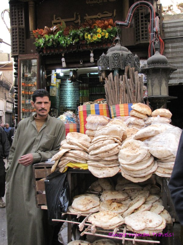 Smell the Bread from the market vendor in Cairo Egypt