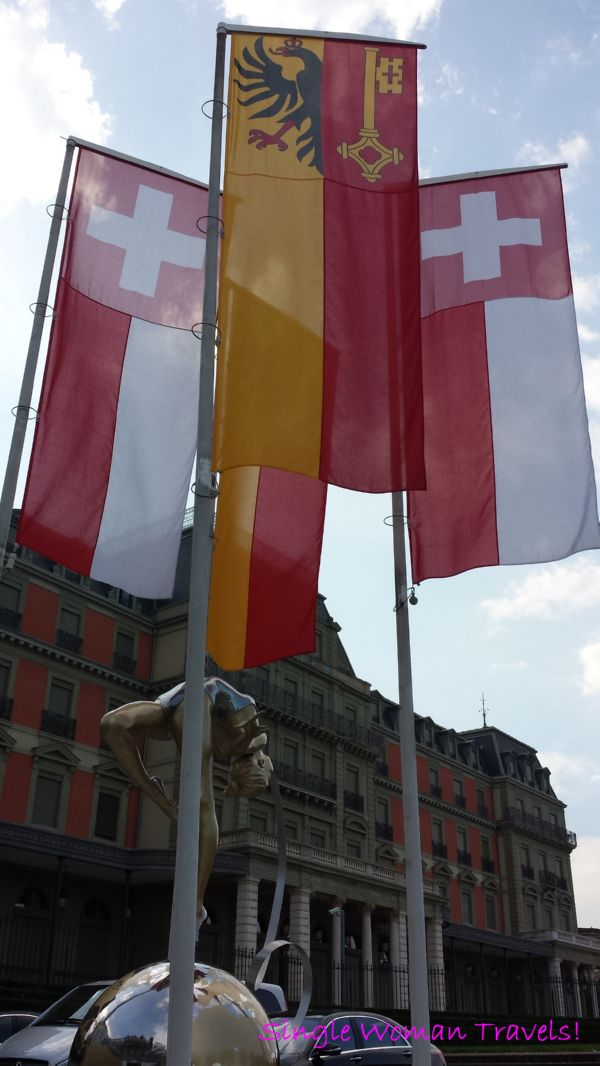 Swiss flags outside Palais Wilson Geneva Switzerland