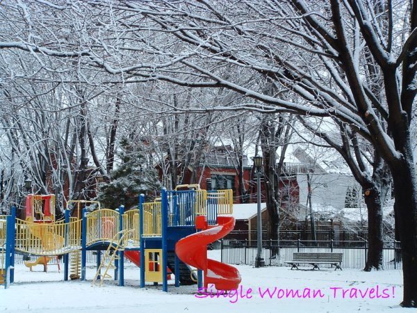 Winter Wonderland - playground in park in Toronto Canada