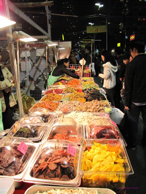 Dried fruit snacks for sale at Chinese New Year market in Hong Kong
