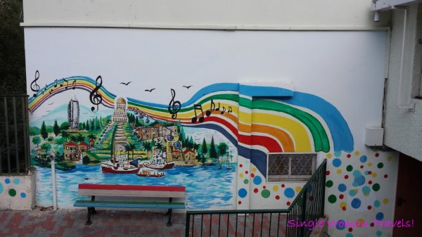 Mural found on local school featuring famous landmarks of Haifa Israel