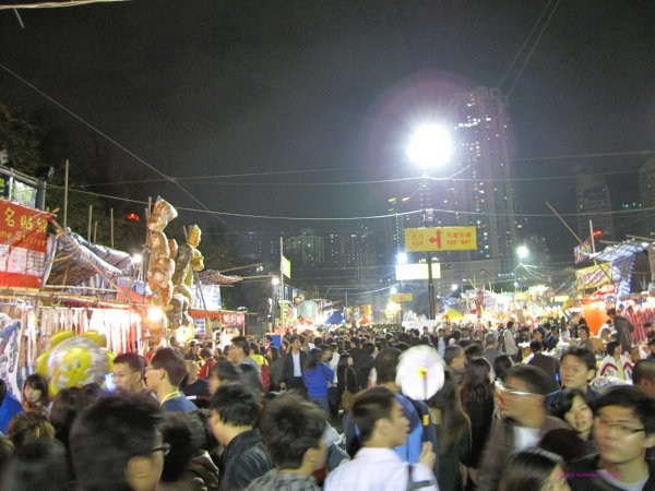 People pack the Chinese New Year market