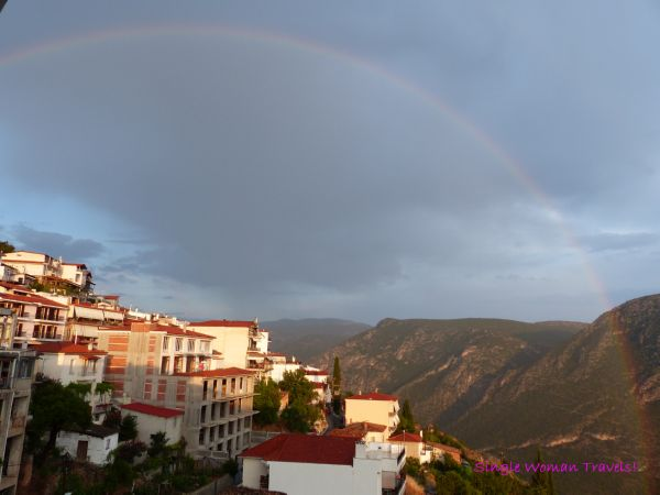 Rainbow over new Delphi town Greece