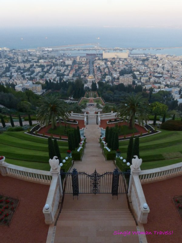 View of Baha'i Temple and city of Haifa Israel