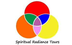 Spiritual Radiance Tours logo - 3 circles symbolizing the Mind, body and spirit coming together and forming a connection. The 7 colors are Red, orange, yellow, green, blue, violet and magenta; representing the 7 chakras of the human body.