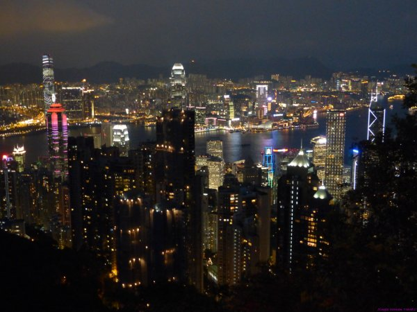 View of Hong Kong harbour from the Peak after dark