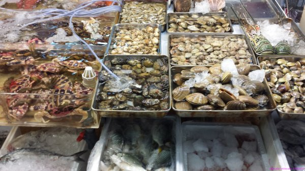 Fresh live seafood found at market in Hong Kong