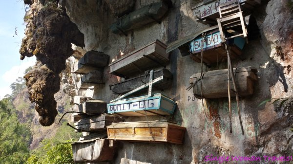View of hanging coffins in Sagada Philippines
