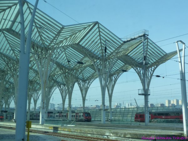 View of Oriente train station in Lisbon, Portugal from train window - designed by Santiago Calatrava